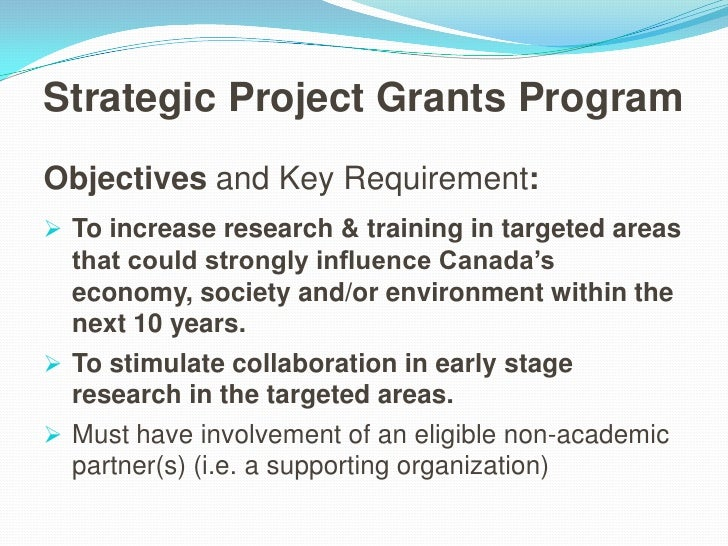 Proposal Preparation - NSERC Strategic Projects: Sherman Shen