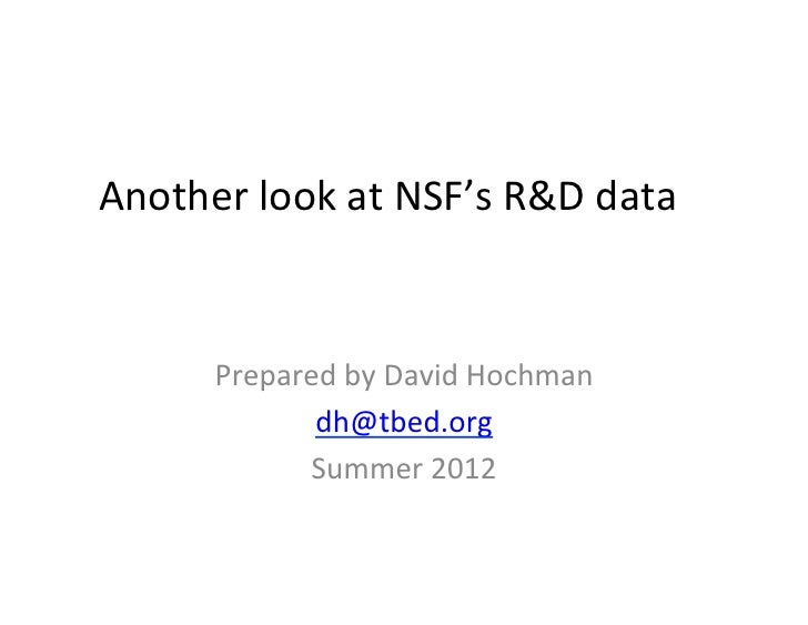 Another look at NSF's R&D data