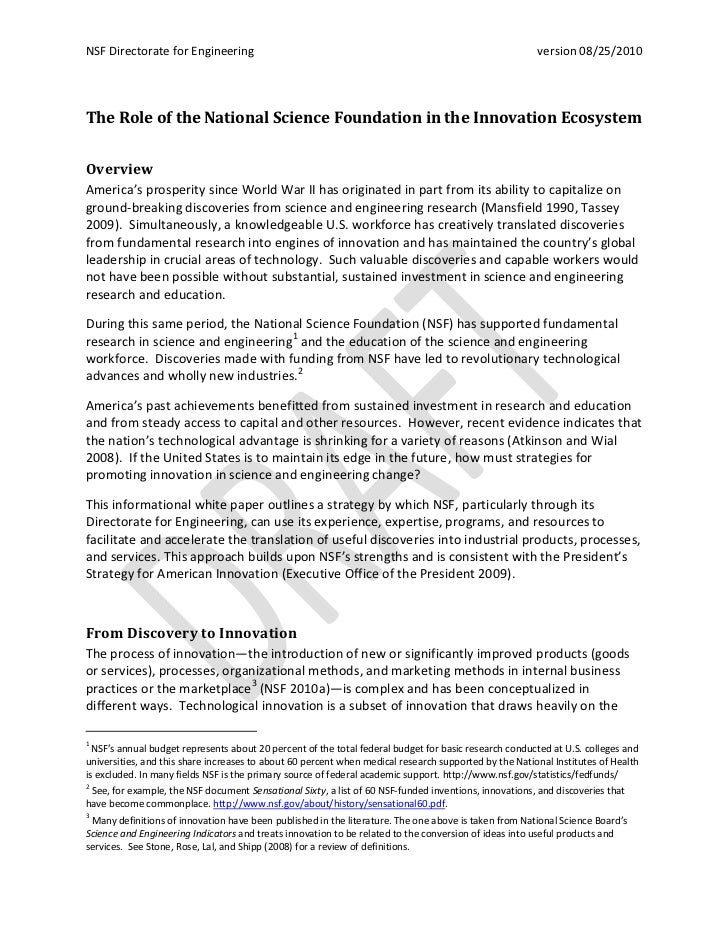 Nsf in the innovation ecosystem