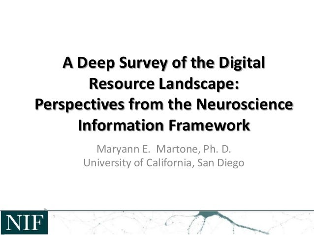 A Deep Survey of the Digital Resource Landscape: Perspectives from the Neuroscience Information Framework Maryann E. Marto...