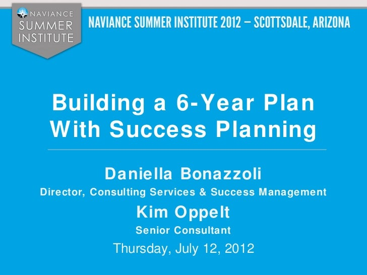 Building a 6-Year Plan With Success Planning           Daniella BonazzoliDirector, Consulting Services & Success Managemen...
