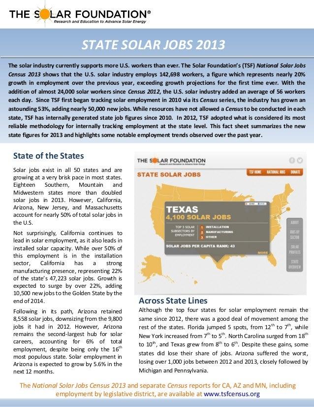 Solar State Jobs 2013 Fact Sheet