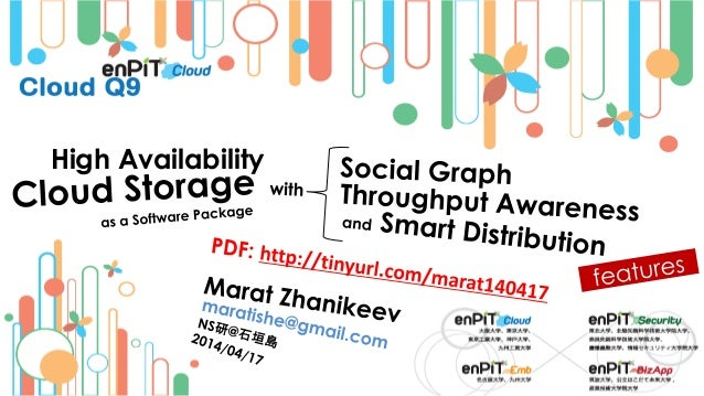 High Availability Cloud Storage as a Software Package with Social Graph, Throughput Awareness, and Smart Distribution Features