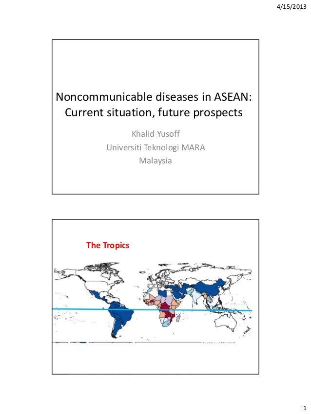 4/15/20131Noncommunicable diseases in ASEAN:Current situation, future prospectsKhalid YusoffUniversiti Teknologi MARAMalay...