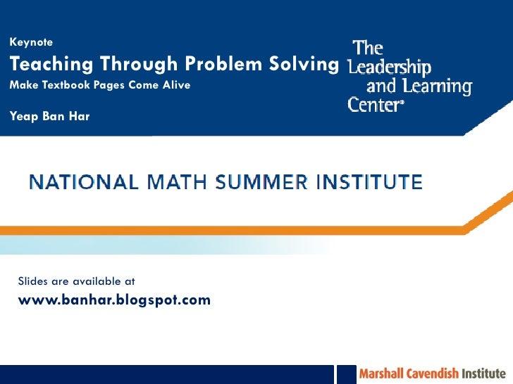 NSMI Teaching through Problem Solving
