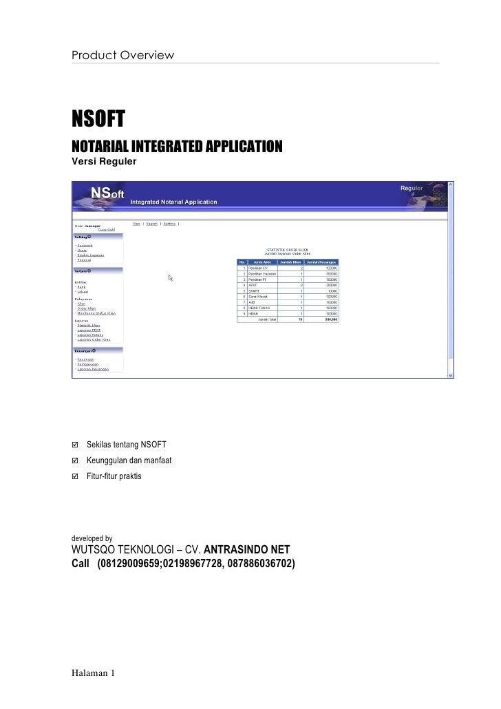 Product OverviewNSOFTNOTARIAL INTEGRATED APPLICATIONVersi Reguler   Sekilas tentang NSOFT   Keunggulan dan manfaat   Fi...