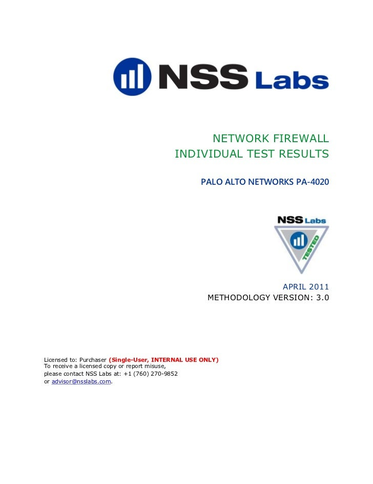 NETWORK FIREWALL                                         INDIVIDUAL TEST RESULTS                                          ...