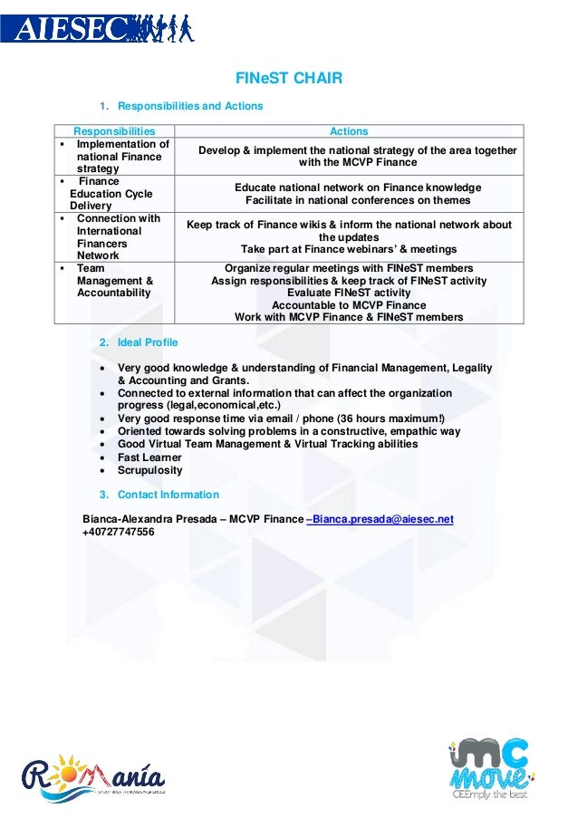 FINeST CHAIR1. Responsibilities and ActionsResponsibilities Actions Implementation ofnational FinancestrategyDevelop & im...