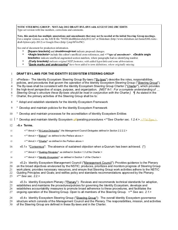 NSTIC STEERING GROUP: NIST July 2012 DRAFT BYLAWS with AUGUST 2012 JBC EDITS     Type-set version with line numbers, corre...