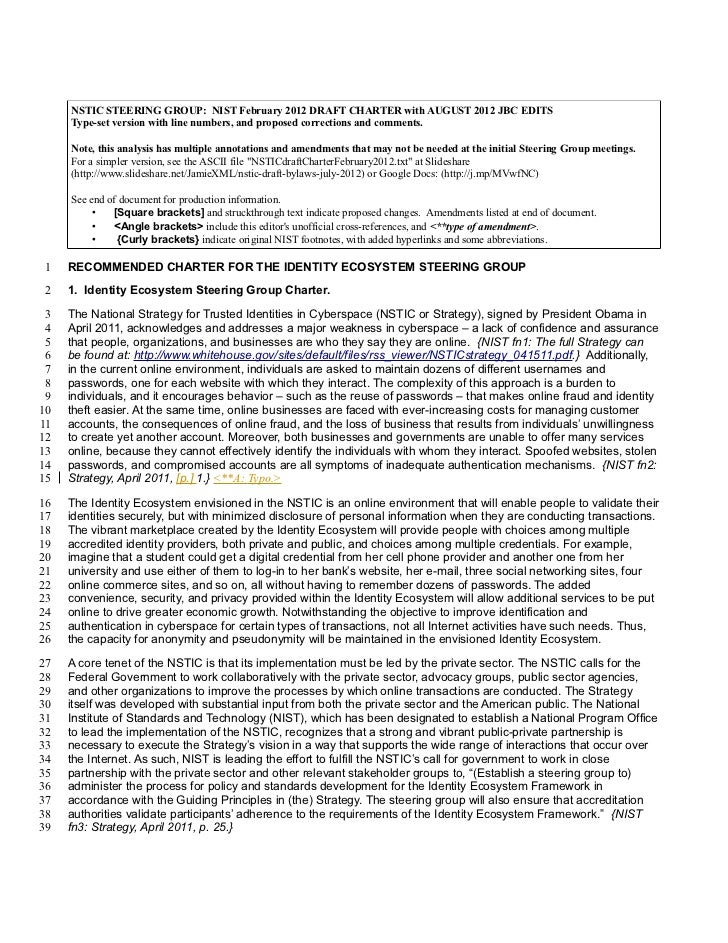 NSTIC STEERING GROUP: NIST February 2012 DRAFT CHARTER with AUGUST 2012 JBC EDITS     Type-set version with line numbers, ...