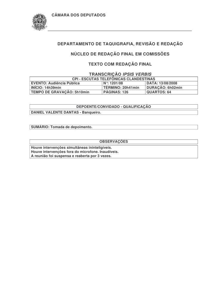Depoimento de Daniel Dantas na CPI