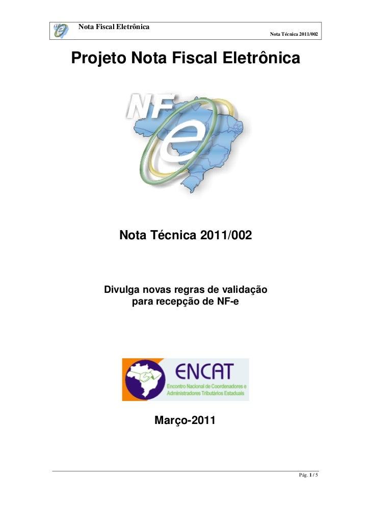 NF-e - Nota Técnica 2011/002