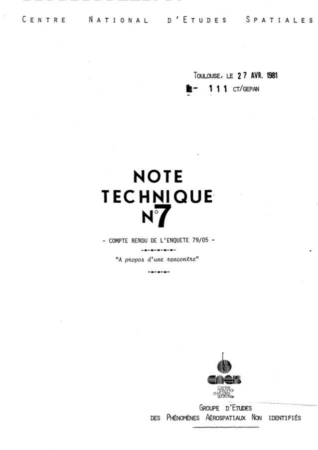 TOULOUSE, LE 2 7 AVR. 1981  a- 1 1 1 CT/GEPPN  Li  NOT  TECHNI QUE  - COMPTE RENDU DE L'ENQUETE 79/05 -  GROUPE ;'ENDES  D...