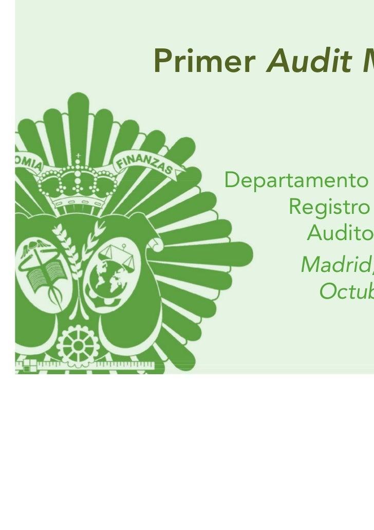 Primer  Audit Meeting  REGA Departamento Técnico del Registro General de Auditores (REGA): Madrid, 14 y 15 de Octubre de 2...