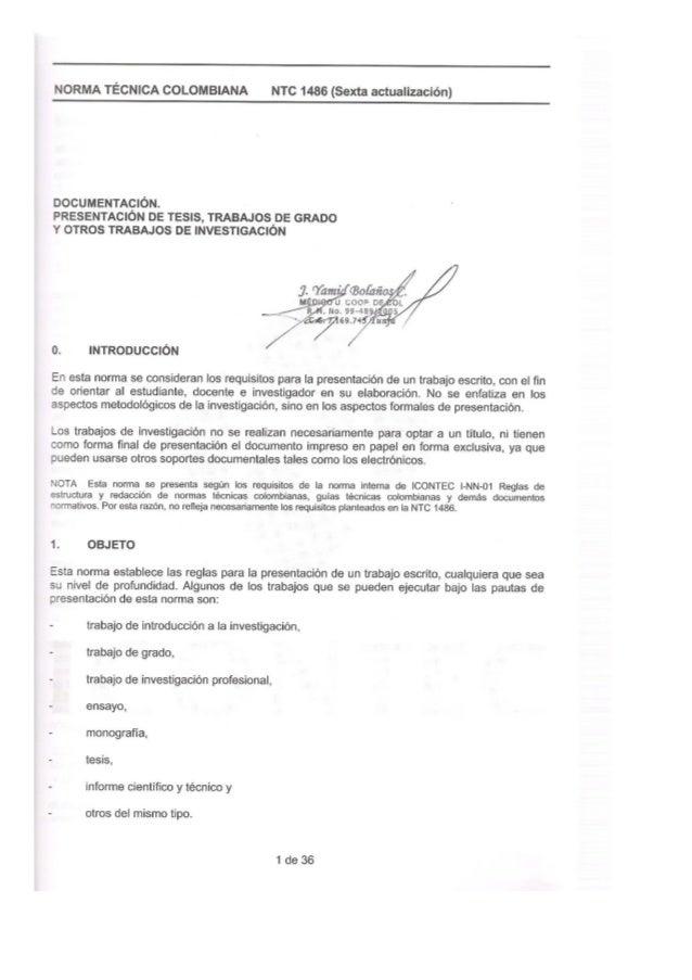 Ntc 1486 norma general para la realizacion de trabajos de grado jybc