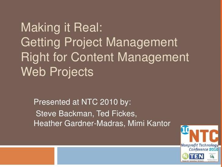 Project Management for CMS web sites