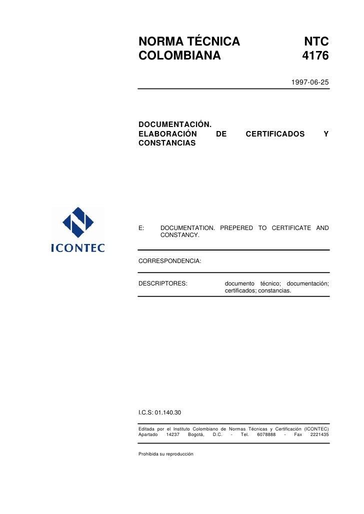 Ntc 4176 elaboracion de certificados y constancias