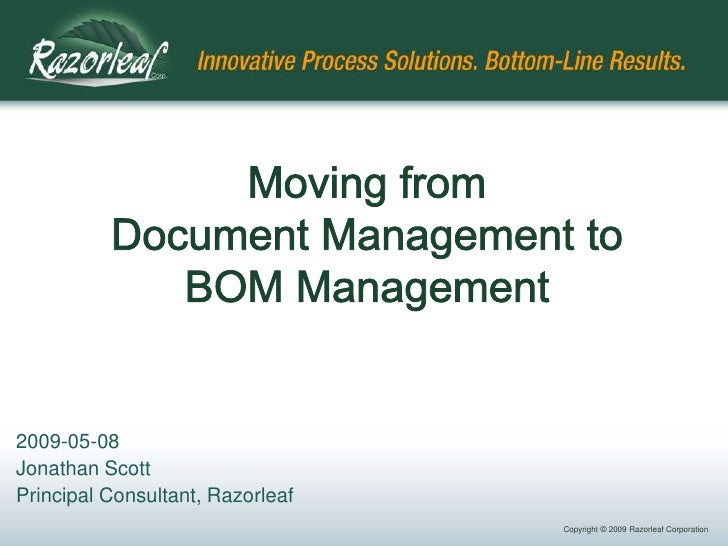 Moving from Document Management to BOM Management
