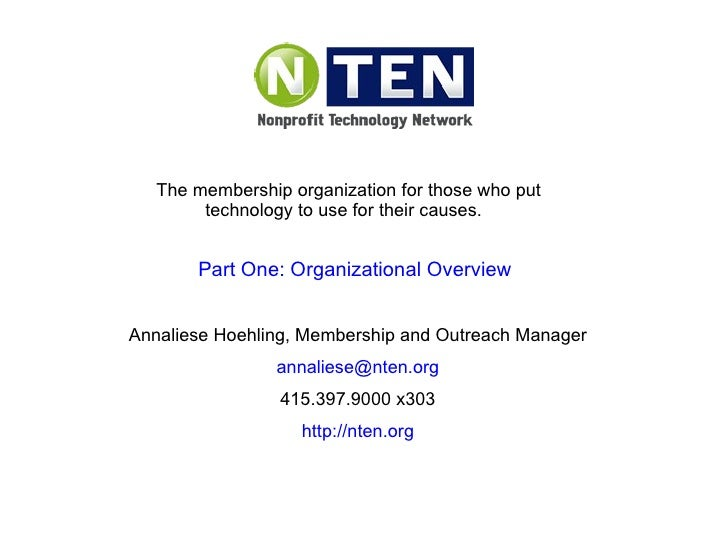 The membership organization for those who put technology to use for their causes.  Annaliese Hoehling, Membership and Outr...