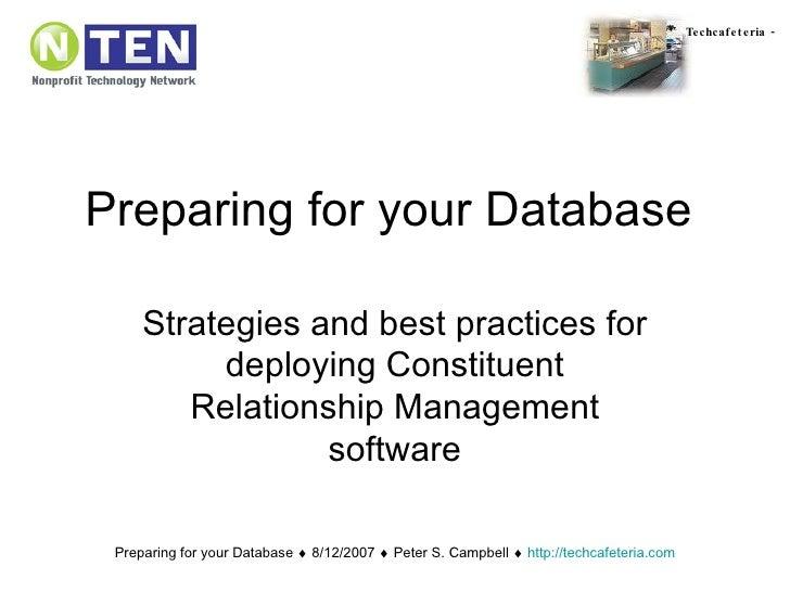 Nten Webinar Preparing For Your Database