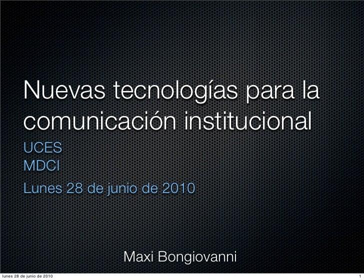 NTI para la Comunicación institucional. Día uno