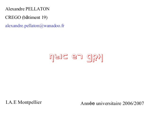 Alexandre PELLATON CREGO (bâtiment 19) alexandre.pellaton@wanadoo.fr  NTIC et GRH  I.A.E Montpellier  Année universitaire ...