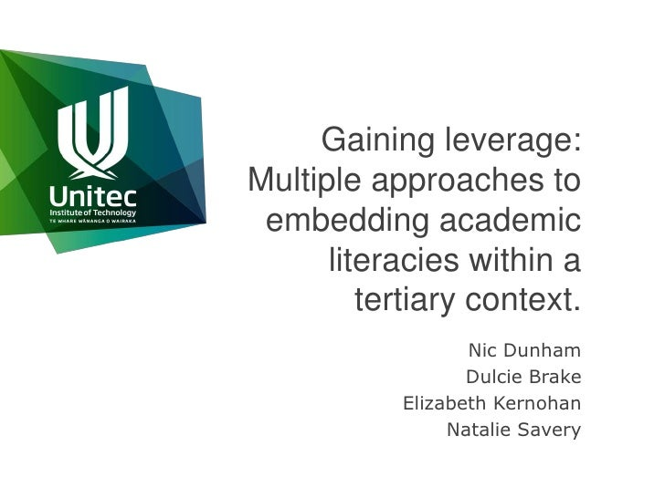 Gaining leverage: Multiple approaches to embedding academic literacies within a tertiary context.<br />Nic Dunham<br />Dul...
