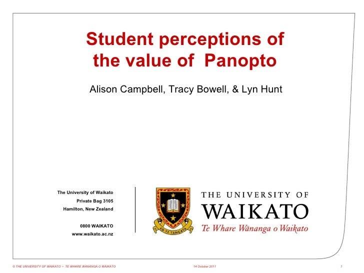 NTLTC 2011 Student perceptions of the value of  Panopto