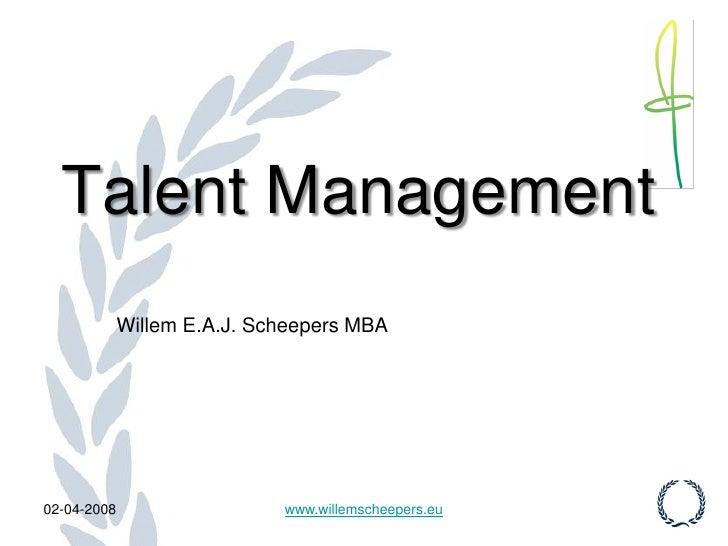 Nationale Talent Management Conferentie 2008 Intro (Dutch)