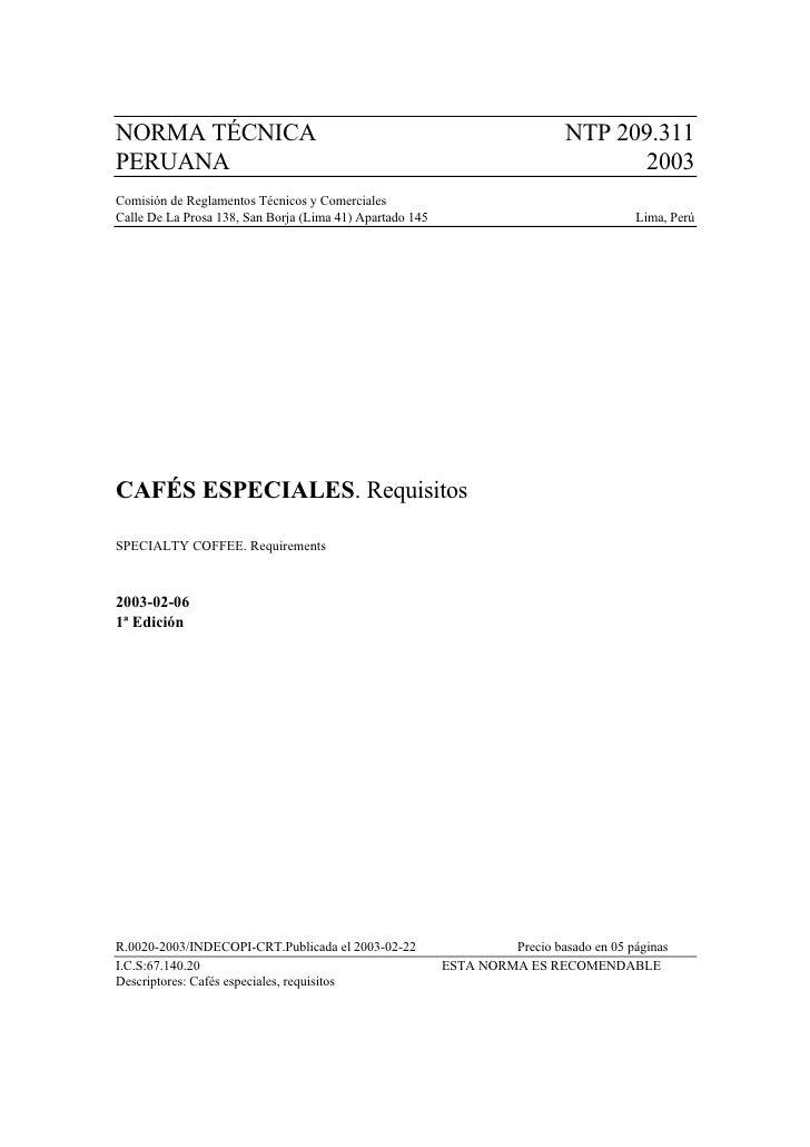 Norma Técnica Peruana (NTP 209.311 - 2003)