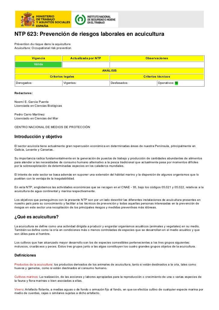 NTP 623: Prevención de riesgos laborales en acuiculturaPrévention du risque dans le aquicultureAcuiculture: Occupational r...