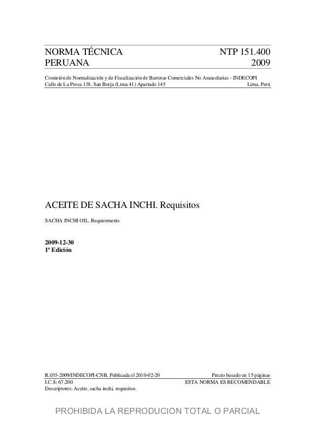 NORMA TÉCNICA NTP 151.400 PERUANA 2009 Comisión de Normalización y de Fiscalización de Barreras Comerciales No Arancelaria...
