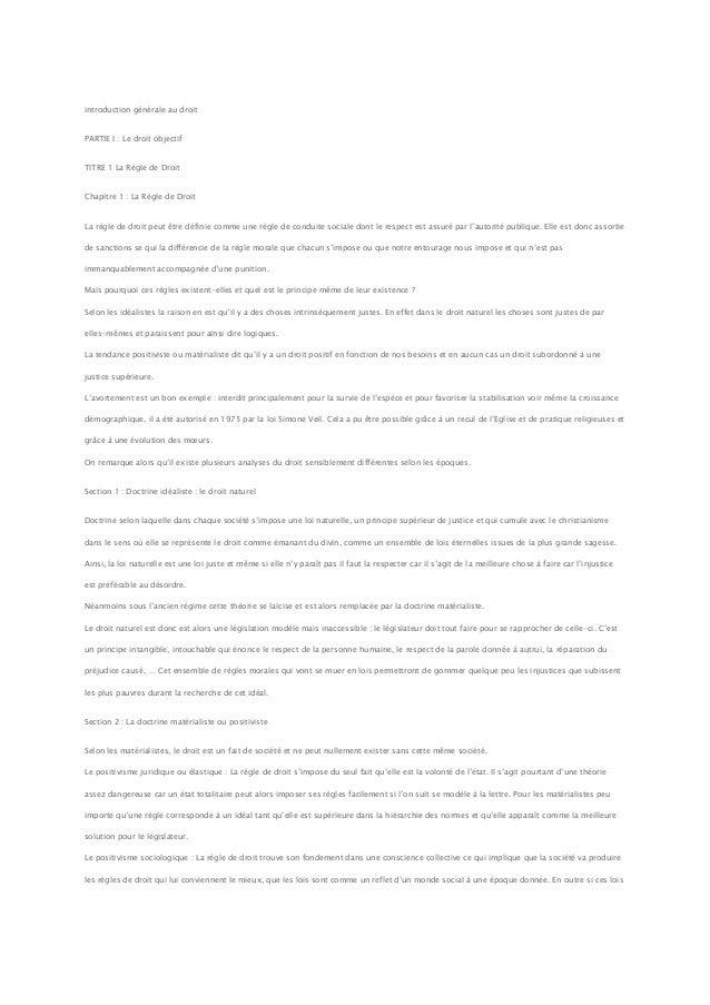introduction générale au droitPARTIE I : Le droit objectifTITRE 1 La Règle de DroitChapitre 1 : La Règle de DroitLa règle ...