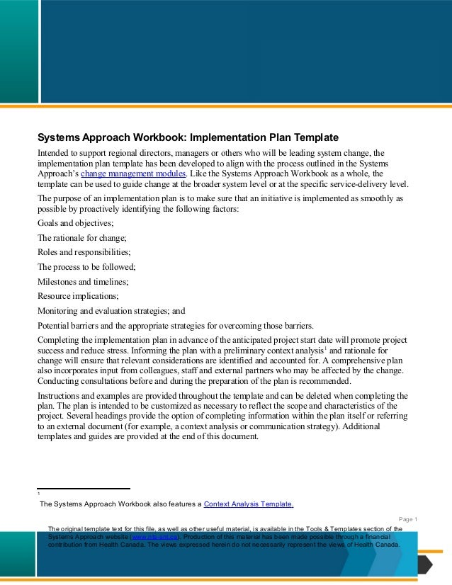 Systems Approach Workbook: Implementation Plan TemplateIntended to support regional directors, managers or others who will...