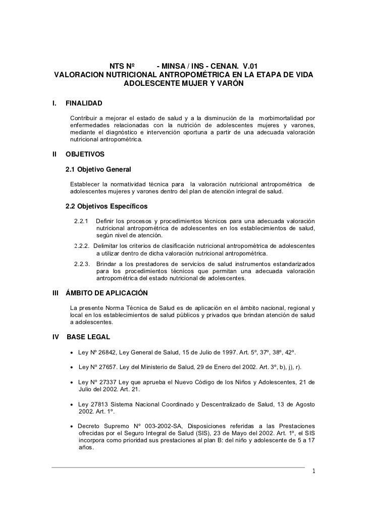 Proyecto - NTS Nº   - MINSA / INS - CENAN. V.01      NORMA TÉCNICA DE SALUD PARA LA VALORACIÓN NUTRICIONAL ANTROPOMÉTRICA ...