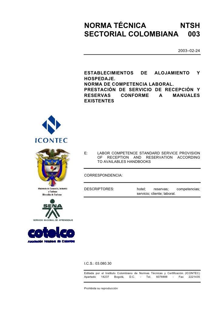 NORMA TÉCNICA       NTSH SECTORIAL COLOMBIANA 003                                                                   2003–0...