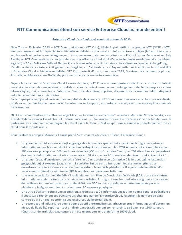 NTT Communications étend son service Enterprise Cloud au monde entier !                             ...