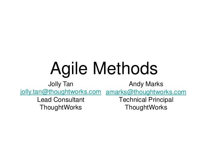 Agile Methods for NTU Software Engineers