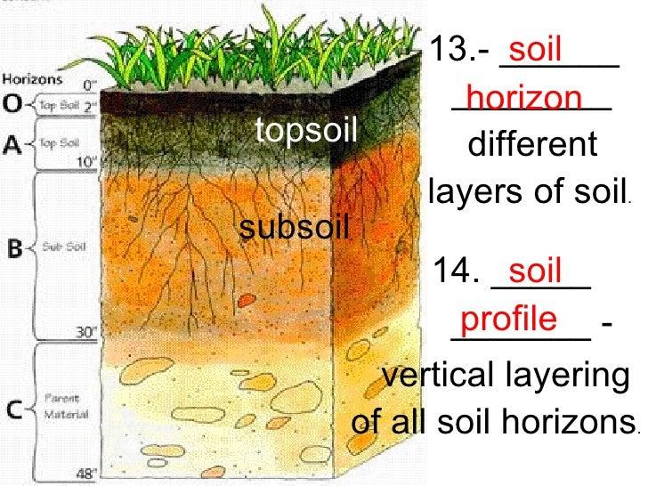 Bedrock soil profile images for Soil horizons layers