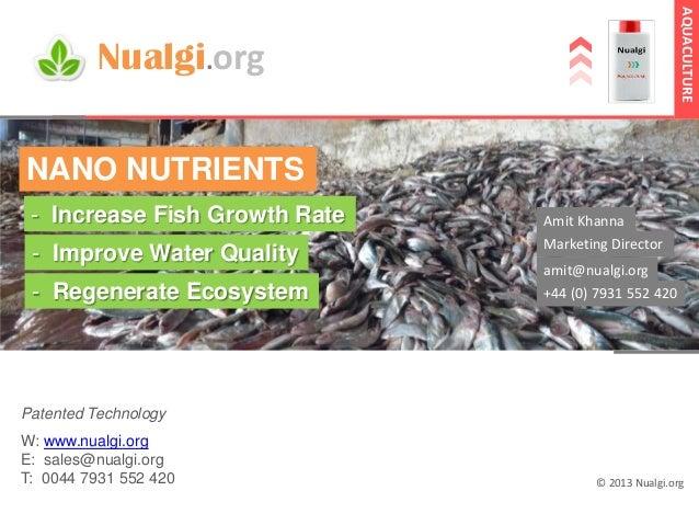 AQUACULTURE  Nualgi.org NANO NUTRIENTS - Increase Fish Growth Rate  Amit Khanna  - Improve Water Quality  Marketing Direct...