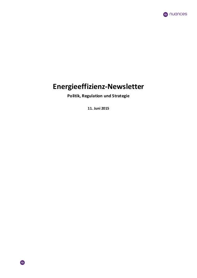 Energieeffizienz-Newsletter Politik, Regulation und Strategie 11. Juni 2015