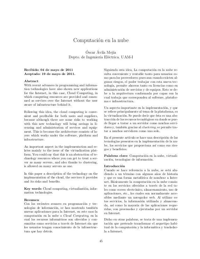 Computaci´on en la nube ´Oscar ´Avila Mej´ıa Depto. de Ingenier´ıa El´ectrica. UAM-I Recibido: 04 de mayo de 2011 Aceptado...