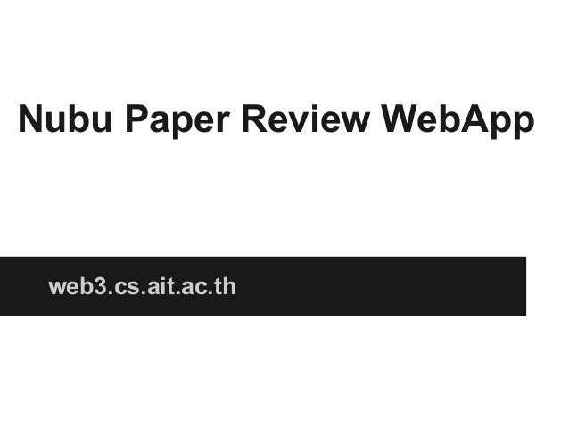 Nubu Paper Review WebApp  web3.cs.ait.ac.th