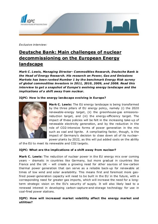 Deutsche Bank: Main Challenges of Nuclear Decommissioning on the European Energy Landscape