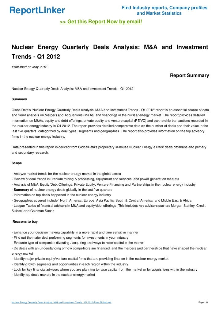 Nuclear Energy Quarterly Deals Analysis: M&A and Investment Trends - Q1 2012