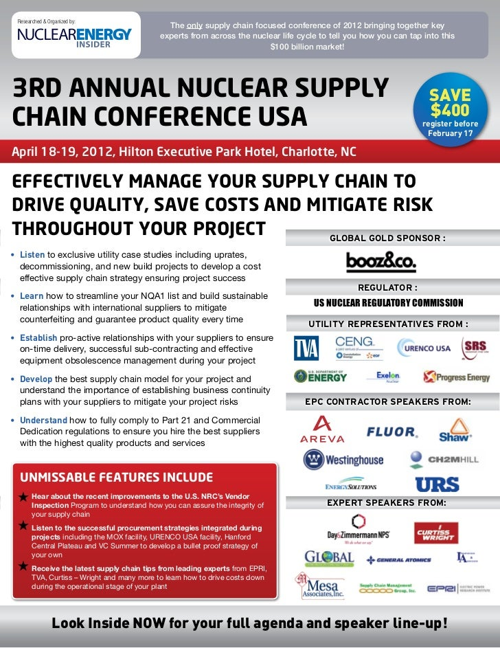 Researched & Organized by:                                              The only supply chain focused conference of 2012 b...