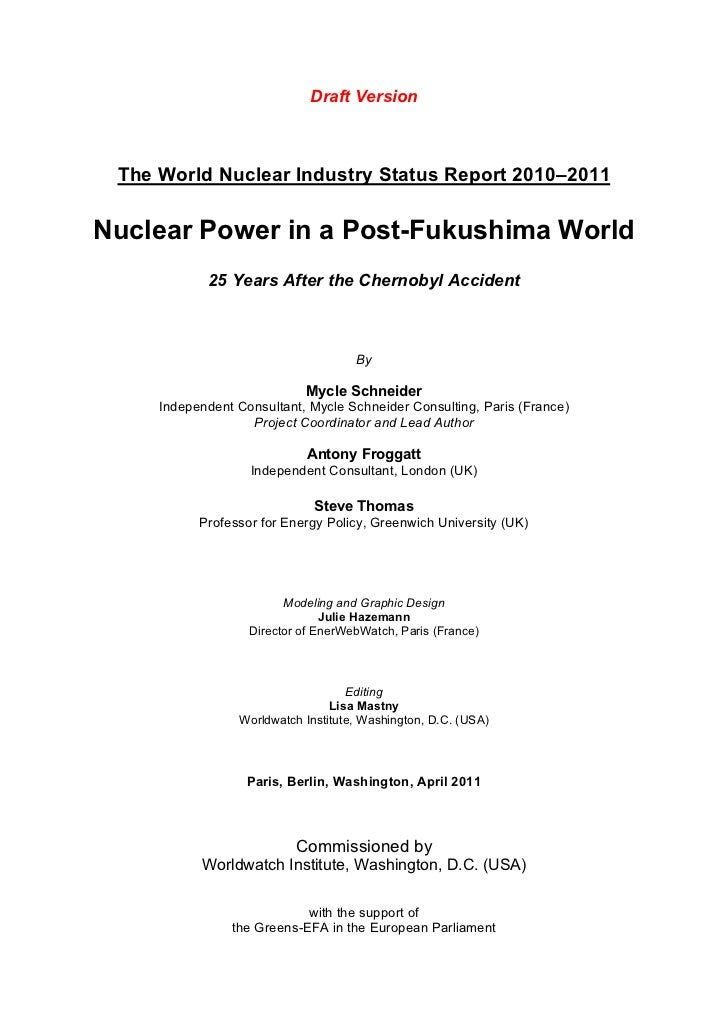 The world nuclear industry status report 2010 - 2011 preliminary