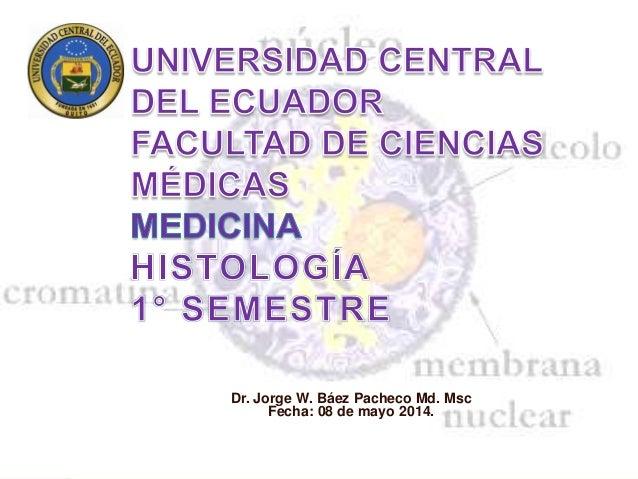 Dr. Jorge W. Báez Pacheco Md. Msc Fecha: 08 de mayo 2014.