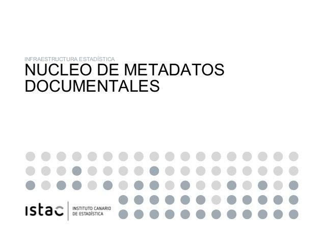 NUCLEO DE METADATOS DOCUMENTALES DE LOS RIE DEL ISTAC INFRAESTRUCTURA ESTADÍSTICA NUCLEO DE METADATOS DOCUMENTALES