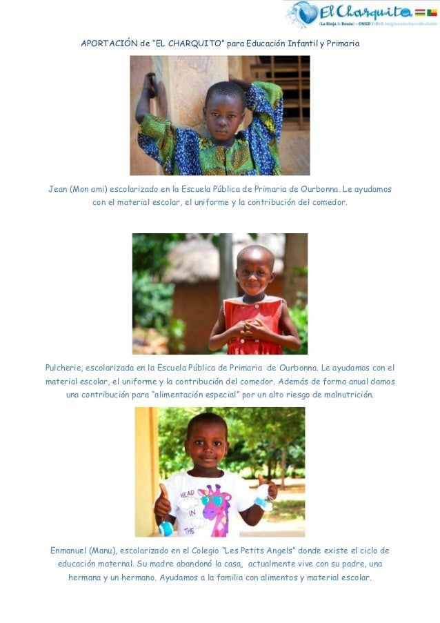 """APORTACIÓN de """"EL CHARQUITO"""" para Educación Infantil y Primaria Jean (Mon ami) escolarizado en la Escuela Pública de Prima..."""